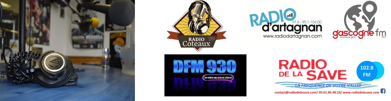 logo des radios partenaires : Radio Coteaux, Radio d'Artagnan, DFM930, Radio de la Save et Gascogne FM